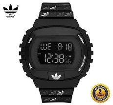 ADIDAS ADH6122 Men Women Rectangle Sport Digital Black White Silicone Watch - £76.52 GBP