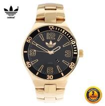 ADIDAS ADH2652 Men Women Round 50mm GOLD Watch Steel Bracelet BLACK DIAL... - €201,29 EUR