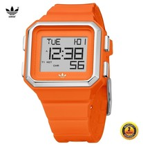 ADIDAS ADH4016 Men Women Square Watch Orange Silicone Strap Silver Dial - £83.17 GBP