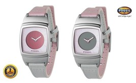 Fossil Bg1088 Women Square Steel Watch Pink Leather Strap Red Or Gray Dial  Rare - $186.07