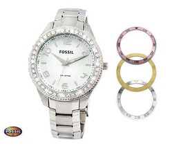 FOSSIL AM4248 Women Round Watch Steel Bracelet Pink Gold Silver Dial Crystals - $204.77