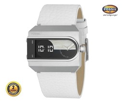 FOSSIL JR9308 Men Women Rectangle Watch Analog Digital White Leather Black Dial - $210.62