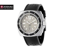 ZODIAC ZO2302 Men Square DIVER Steel Watch Black Silicone Strap Round Gr... - $690.21