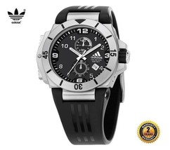 ADIDAS ADP1786 Men Round Chrono Steel DIVER Watch Black Silicone Band Bl... - £230.89 GBP