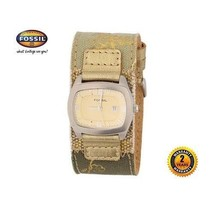 Fossil Jr8992 Women Square Steel Cuff Watch Olive Gold Leather Strap Beige Dial - $182.33