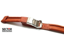Authentic New SECTOR Brown Leather Strap 20 mm Wrist Watch Band Fold Ove... - $79.43