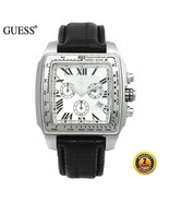 GUESS GC Men's Square CHRONOGRAPH Steel Watch Black Leather Silver Dial 30007GA - £620.48 GBP