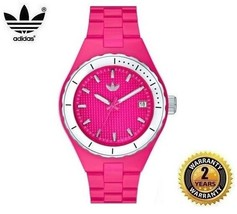 ADIDAS ADH2082 Women Round Watch Pink Silicon Strap Pink Dial Silver Bez... - £77.42 GBP