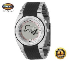 FOSSIL BG2079 Men Round Watch Steel Bracelet with Black Silicone Silver Dial - $193.05