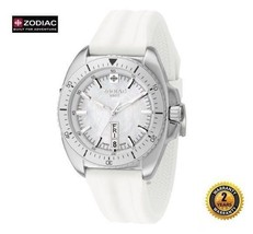 Zodiac Zo5501 Women Round Steel Diver Swiss Made Watch White Silicone White Dial - $403.22