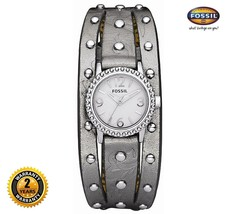 FOSSIL JR1179 Women Round Steel Watch Gray Studded Cuff Leather Strap White Dial - $186.07