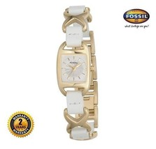 FOSSIL ES1748 Women's Rectangle Watch GOLD Steel White Leather Band Silver Dial - $172.98