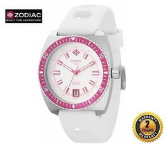 ZODIAC ZO2269 Women Round Steel DIVER SWISS Pink Watch White Silicone Wh... - $371.25