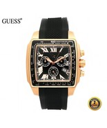 GUESS GC 35503GA Square ROSE GOLD CHRONO SWISS Watch Black Silicone Blac... - $690.21