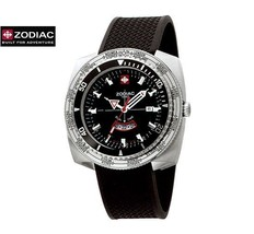 ZODIAC ZO3701 Men Round DIVER Steel Watch Black Silicone Strap Round Bla... - $690.21
