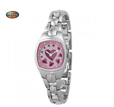 FOSSIL ES9995 Women Square Watch Silver Steel Bracelet Heart Animation Pink Dial - $182.33