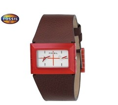 FOSSIL JR9398 Women's Red Rectangle Dual Watch Brown Leather Strap White Dial - $186.07