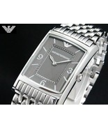 EMPORIO ARMANI AR0149 Men Women Square Watch Silver Steel Bracelet Black... - $510.75