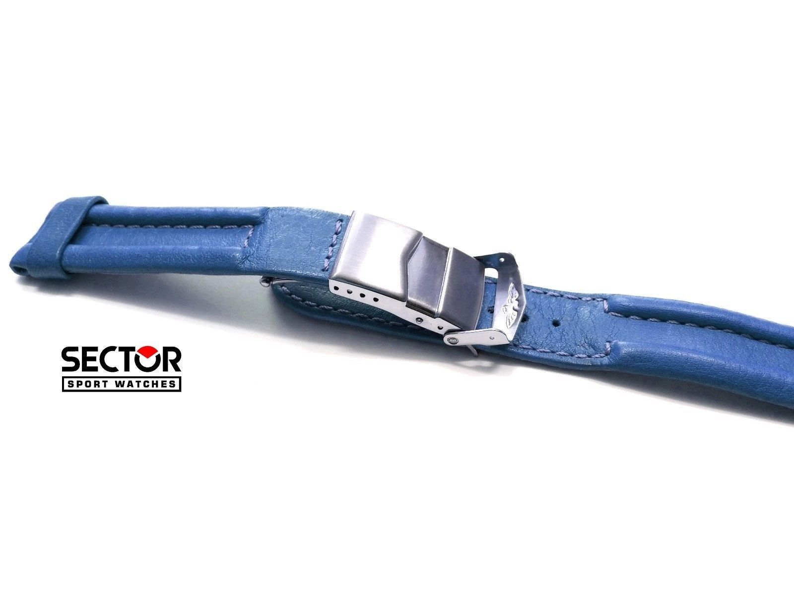 New SECTOR Blue Navy Leather Strap 20 mm Wrist Watch Band Fold Over Clasp - $79.43