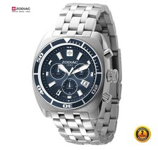 ZODIAC ZO4500 Men Round Chrono DIVER Watch Silver Steel Bracelet NAVY BL... - $791.26