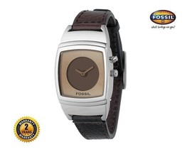 FOSSIL BG1087 Women's Square Steel BLADE Watch Brown Leather Strap Brown Dial - $186.07