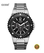 GUESS Men Round Silver Stainless Steel Bracelet Black Dial Date Watch W1... - $391.05