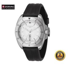 ZODIAC ZO5500 Women Round Steel DIVER SWISS MADE Watch Black Silicone Wh... - $420.75