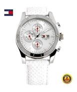 TOMMY HILFIGER 1780726 Women's Steel Round Watch WHITE Leather Strap SIL... - $238.43