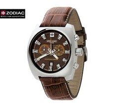 ZODIAC ZO3601 Men Round Chrono DIVER Steel Watch Brown Leather Strap Bro... - $786.84