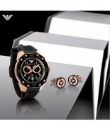 EMPORIO ARMANI AR8012 Men Round DIVER Watch Black Silicone Strap Black D... - $848.04