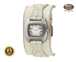 FOSSIL JR9194 Women's Square Steel Watch Beige Leather Cuff Strap Floral Dial - $163.63