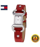 TOMMY HILFIGER 1780621 Women's Steel SQUARE Watch RED Leather Strap SILV... - $222.75