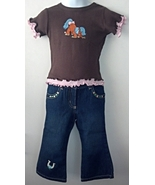 Toddler Girls Casual Western Embroidered Pony Shirt & Jeans Size 2T - $21.95