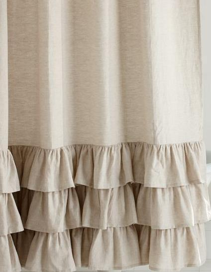 pottery barn linen ruffle shower curtain flax nwt shower curtains. Black Bedroom Furniture Sets. Home Design Ideas
