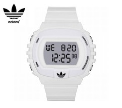 ADIDAS ADH6078 Men Women Rectangle DIGITAL Watch WHITE SILICONE STRAP Gr... - £83.17 GBP