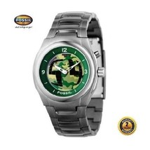 FOSSIL BG2145 Men Round ARMY Watch Gray Stainless Steel Bracelet Camouflage Dial - $183.15