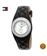TOMMY HILFIGER 1780504 Women ROUND Watch BLACK Leather Strap SILVER Dial... - $242.55