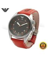 EMPORIO ARMANI AR0517 Men Round Steel Watch BROWN Leather Strap Black Di... - $467.74