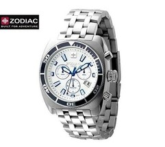 ZODIAC ZO4501 Men Square Chrono DIVER Watch Steel Bracelet Round White DIal - $1,011.92