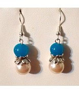 Blue Jade and Glass Pearl Earrings  - $10.99