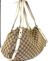 Authentic Gucci GG Pattern Canvas Pelham Monogram & Leather Shoulder Bag... - $187.11