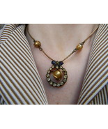 Art Nouveau deco Gold Plate Dual Necklace Brooc... - $19.99