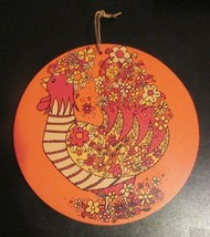 Rooster Round Cutting Board Mod Flowers Wooden Wall Hanging Vtg Kitschy MCM - $44.54