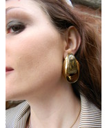 Lg Retro Hammered Gold Tone Oval Hoop Earrings ... - $12.99