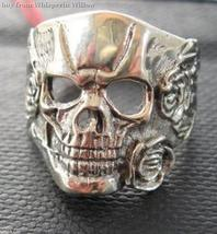 Biker Sterling Silver Heavy Medal Scull and Roses Ring 9 - $19.95