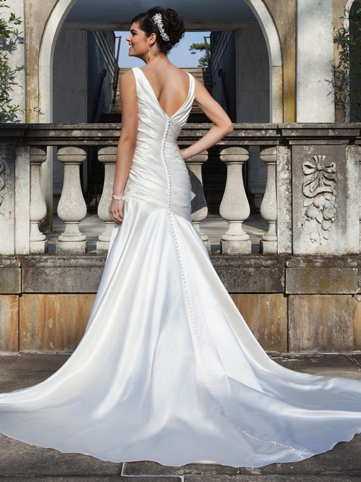 High end satin wedding dress sexy plunging v neck bridal for High end wedding dress