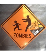 Halloween Orange Yellow Running Zombies Trick-or-treater Indoor Cardboar... - $3.99
