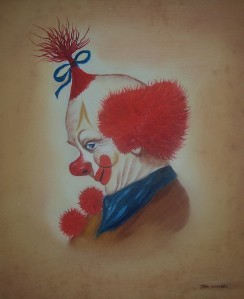 ORIGINAL RED HAIRED CLOWN PAINTING BY TARA WENSEL