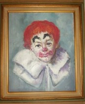 ORIGINAL RED HAIRED CLOWN PORTRAIT PAINTING BY KAY - $674.40