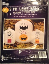 3 Trick-or-treat Ghost Halloween Leaf Lawn Bags New with twist ties - $3.99